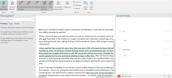 grammarly screen